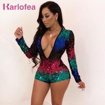Karlofea New Gradient Color Sequin Rompers For Female Club Night Party Shiny Pla - $47.24
