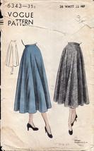 Vintage 1940s Vogue 6343 Circular Skirt - $16.00