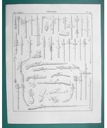 ARMS Piercing Bows & Arrows Firing Pistols Rifles - 1825 Antique Print - $12.15