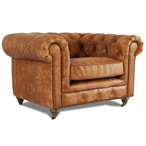 MarquessLife Handmade Tufted Couch Chesterfield Style Aged Leather Single Sofa image 1