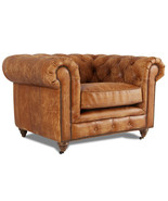 MarquessLife Handmade Tufted Couch Chesterfield Style Aged Leather Singl... - $2,375.15
