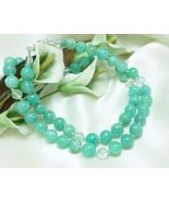 Peruvian Amazonite Round Gemstone and Crystal Necklace 19 inch - $48.00