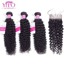 YELO Hair Indian Hair Weave 100% Human Hair Kinky Curly 2 3 Bundles With Closure - $93.00