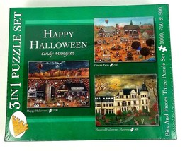 Bits and Pieces Set of 3 -1000 750 50 Piece Halloween Puzzles by Cindy M... - $39.49