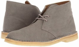 Clarks Originals Desert Boot Men's Taupe Gray Canvas Fabric 26131983 - $130.00