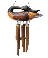 Canada Goose Bird Wind Chime Carved Wood Hand Made Western Lodge Cohasset - $51.98