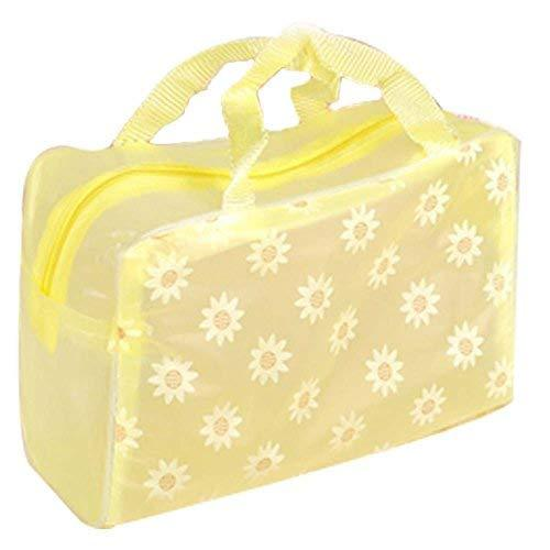 8 Pcs Yellow Floral Transparent Waterproof Travel Pouch Cosmetic Bag