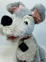 "Vintage Disney Tramp Plush Dog Grey Stuffed Animal Metal Tag 14"" Cocker ... - $37.99"