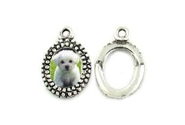 OVAL PICTURE FRAME FINE PEWTER PENDANT CHARM - 13mm L x 21mm W x 3mm D image 2