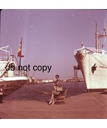 1966 Barcelona Woman Sitting in the Port Medium Format  Slide  - $19.79