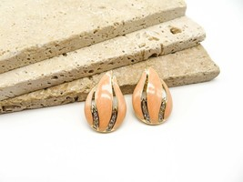Vintage Signed Trifari Peach Enamel White Rhinestone Gold Clip On Earrings BB11 - $18.69
