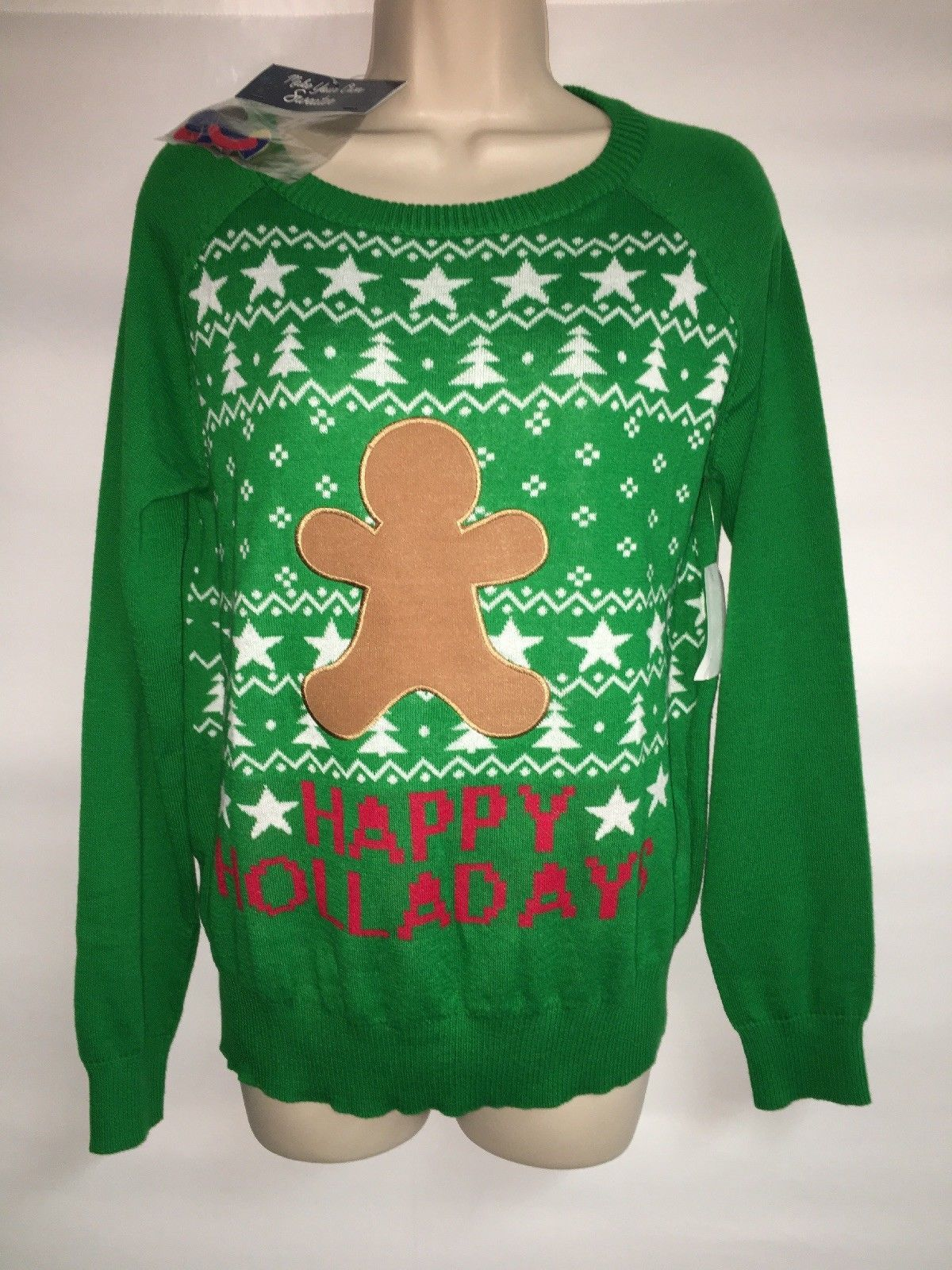 Primary image for Cold Crush Decorate your Christmas Sweater XL Womens Gingerbread Man NWT
