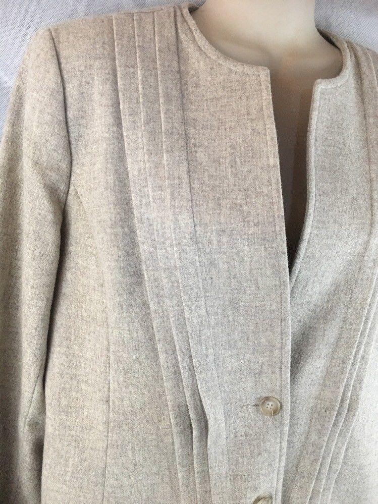 Executive Focus Wool Pencil Skirt Suit Lined 2 Button Jacket Blazer Size 10-12