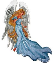 Christmas Art Nouveau [Angel with Flowing Tresses] Embroidered Iron on/S... - $29.69