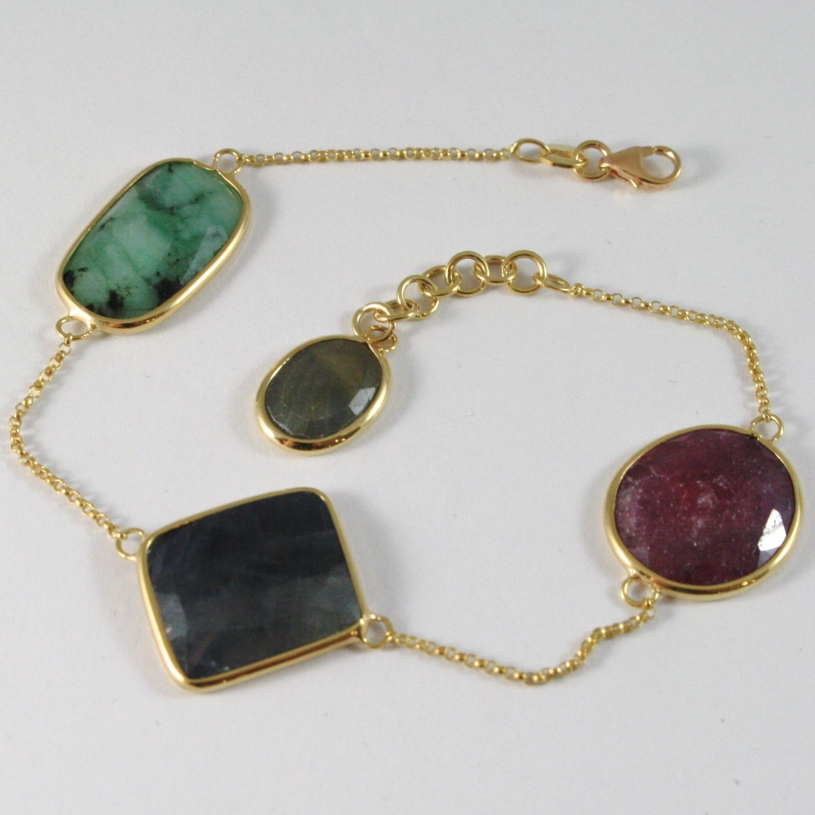 BRACELET YELLOW GOLD 375 9K WITH EMERALD, SAPPHIRE BLUE AND RUBY FACETED