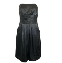 Davids Bridal Bridesmaid Black Strapless Empire Pockets 83707 Dress Size 4 - $24.74