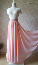 High Waisted Chiffon Maxi Skirt White Pink Red Black Chiffon Skirt Plus Size image 8