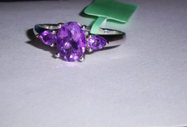 AFRICAN PURPLE AMETHYST OVAL SOLITAIRE & PEAR RING, 925 SILVER, SIZE 7, 1.42(TCW - $25.00