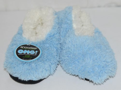 Snoozies 180278 OMG Foot Coverings Sky Blue White Size Small