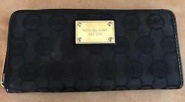 Michael Kors Logo jacquard envelope wallet gold trim bifold womens - $54.50