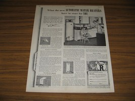 1948 Print Ad Rheem Automatic Water Heaters 1940's Kitchen Mom & Daughter - $13.85
