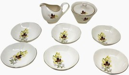 TAYLOR SMITH & TAYLOR VERSATILE LEAF GOLD CREAMER & SUGAR BOWL w/6 DESSE... - $53.99