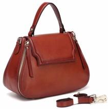 New Pebbled Red Italian Leather Top Handle Satchel Handbag Shoulder Bag - $138.55