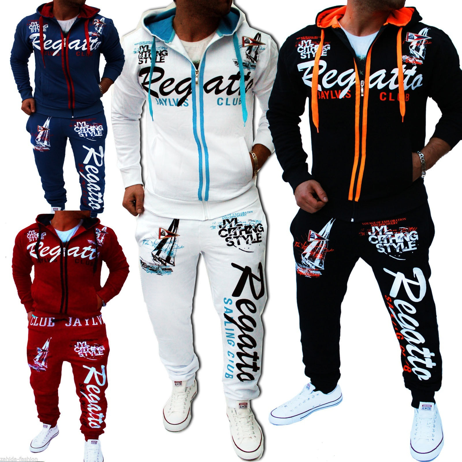 Men Sport Tracksuit Casual Letter Printed Hoodie Coat Leisure Trousers for Male  image 5