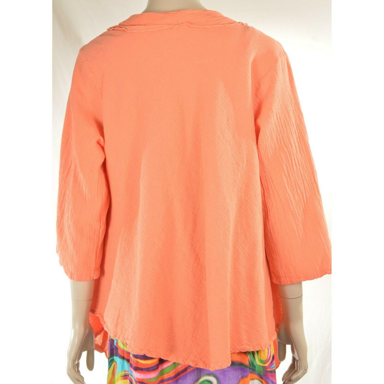 Oh My Gauge jacket cover open OS orange sherbet long sleeve ruffle front hi lo image 3