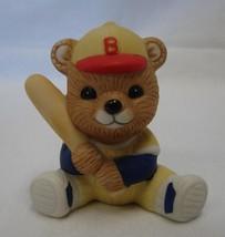 Vintage Homco Figurine Teddy Bear Baseball Player Hat Bat Uniform Sports - $14.67