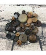 Vintage Buttons Lot Of 30+ Assorted Brown Black Plastic Wood Round Vario... - $9.89