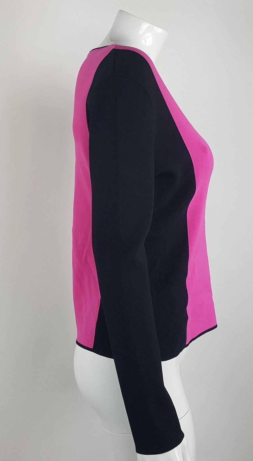 Venini Womens Sz Large Pink Black V-Neck Blouse Rayon Nylon Blend EUC Career