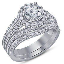 Engagement Bridal Ring Set White Gold Plated Pure 925 Silver Round Cut Diamond - $109.99