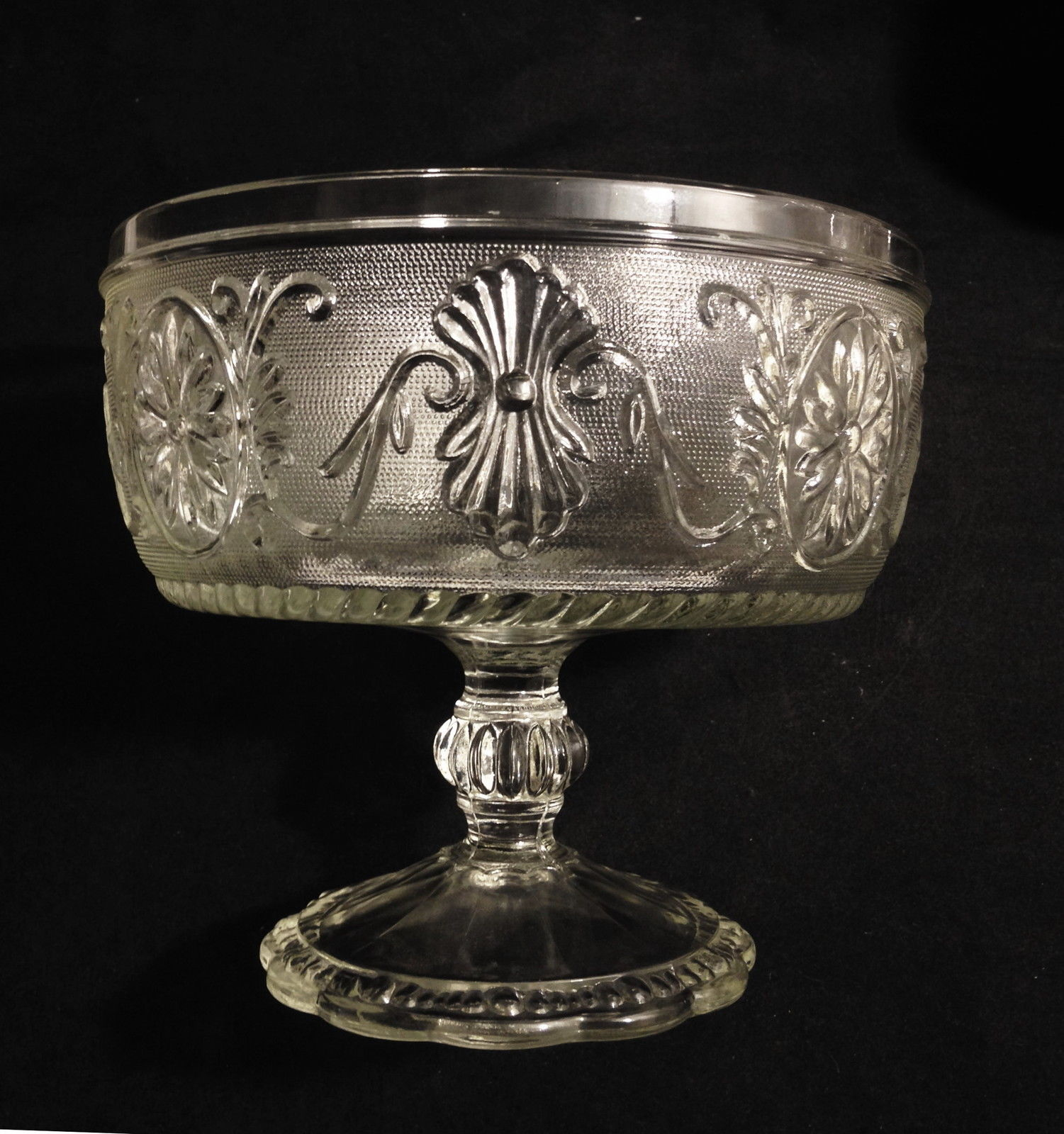 Indiana Sandwich Pressed Glass Footed Compote Vintage  Flower in Oval - $16.95