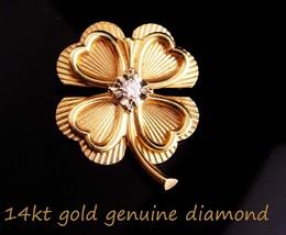 Vintage diamond brooch - 14kt gold Lucky clover - Irish sweetheart shamr... - $325.00