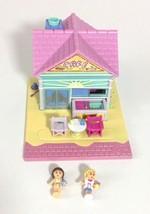 "Polly Pocket Beach Cafe Complete 2 Mini 1"" Doll Figures Vintage Bluebird... - $24.95"