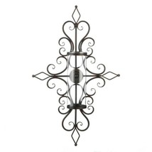 Old World Design Flourished Wall Sconce w/ Hurricane Glass Pillar Candle... - $45.49