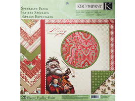K&Company Yuletide Specialty Paper 12x12 Cardstock Stack, 28 Double-Sided Sheets
