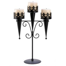 "Medieval Gothic Triple Pillar Candle Holder Stand 15.8"" Black Iron SL 14114 - $17.91"