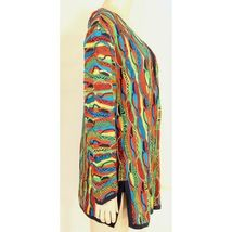 COOGI-sweater-SZ-M-100-silk-cardigan-brilliant-colorful lightweight image 9