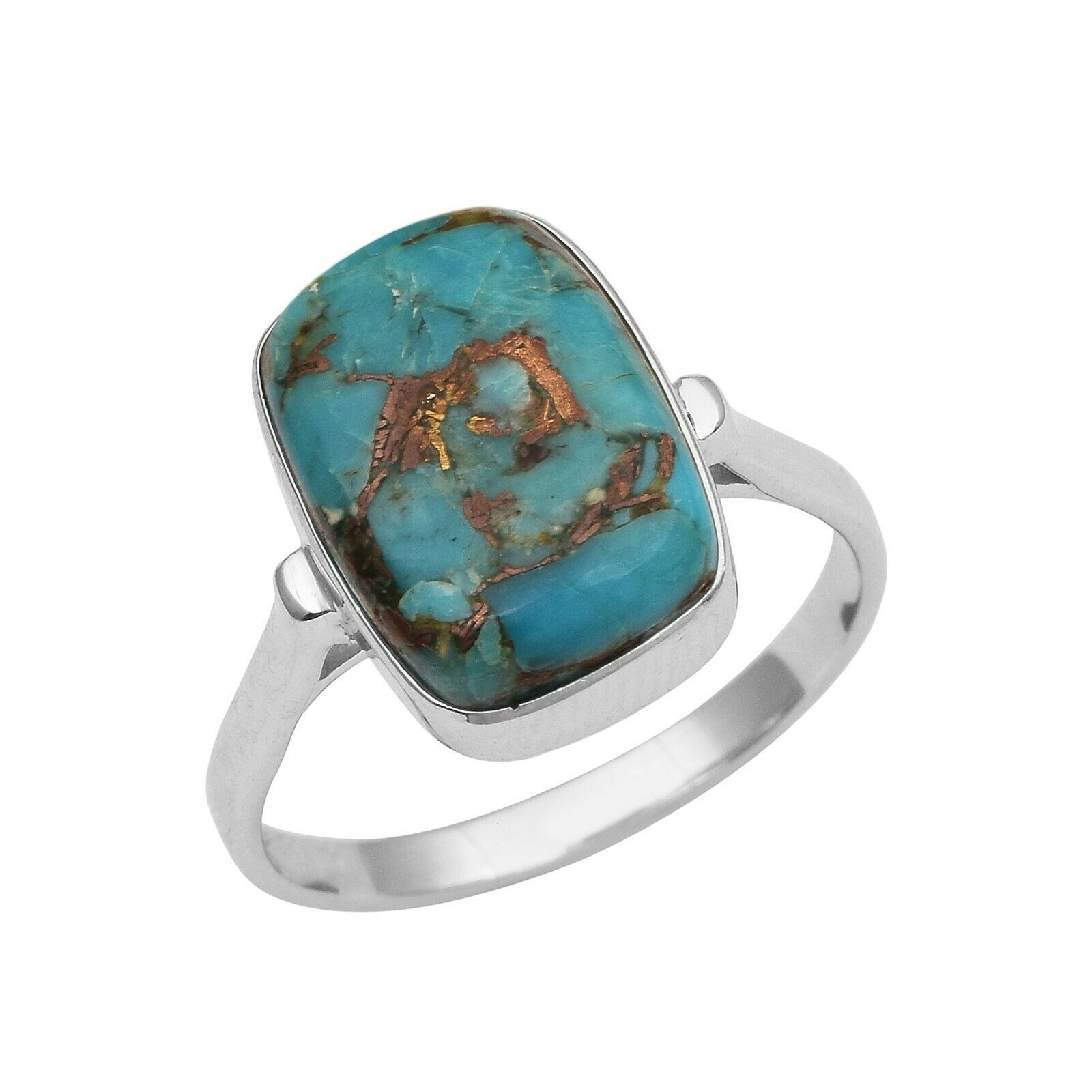Primary image for 925 Fine Silver 5.50 Ct Blue Turquoise Gemstone Octagon Cab Women Wedding Ring
