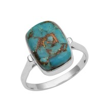 925 Fine Silver 5.50 Ct Blue Turquoise Gemstone Octagon Cab Women Weddin... - $21.95