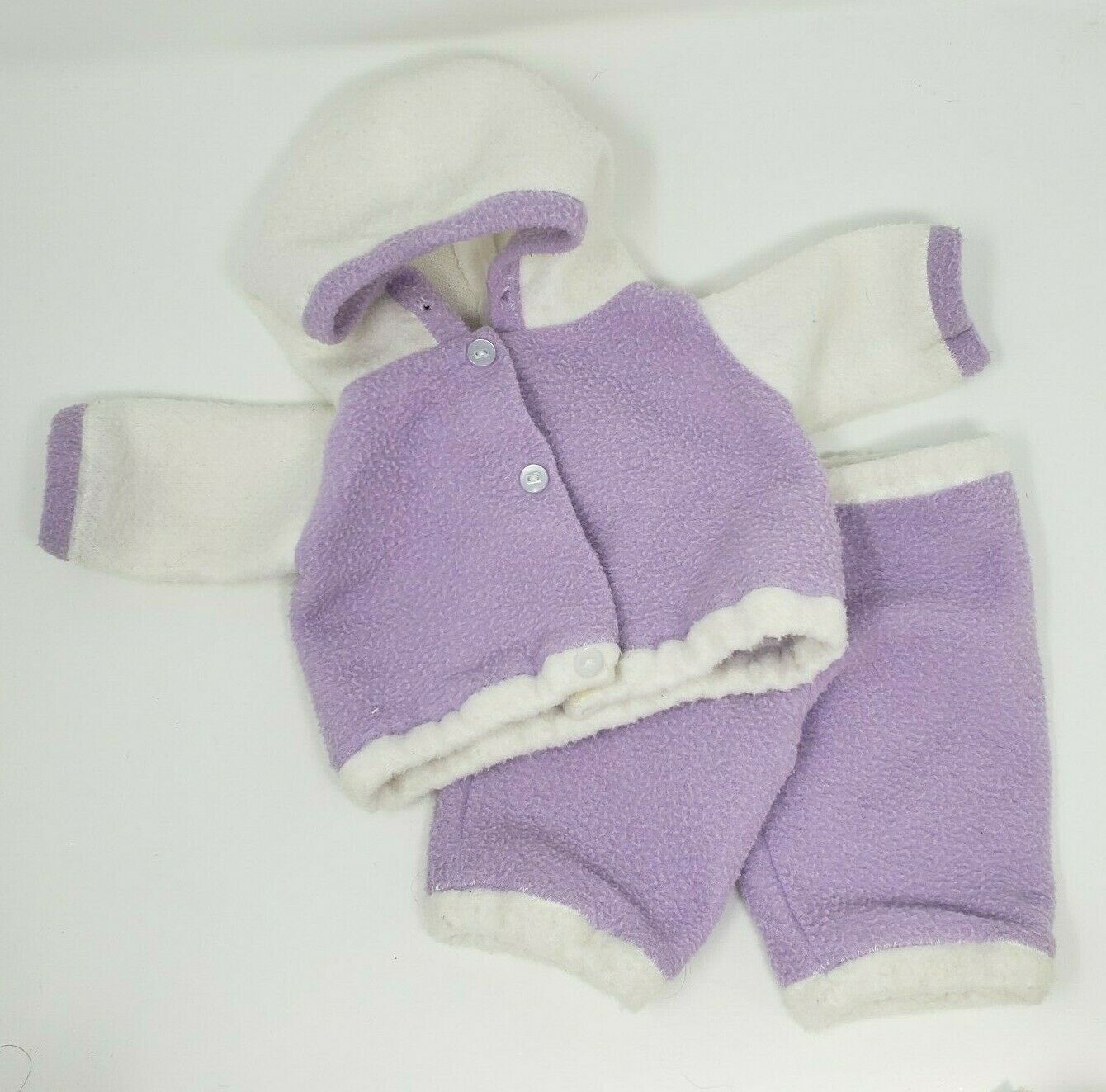 Primary image for VINTAGE CABBAGE PATCH KIDS DOLL PURPLE & WHITE FLEECE OUTFIT HOODIE TOP & PANTS