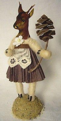 Vintage Inspired Spun Cotton Deer Girl Figurine No.362 Christmas Putz