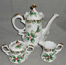 1940s-50s Lefton Porcelain HOLLY GARLAND PATTERN 3 pc Coffee Set HAND PA... - $148.49
