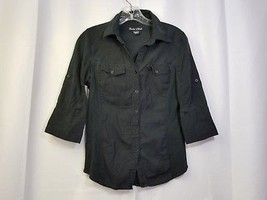 Juniors Black Button Front Shirt 3/4 Convertible Sleeve Tight Fitted Medium  - $3.74