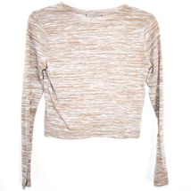 Ambiance Apparel Women's Tan Brown Striped Long Sleeve Polyester Top Size M image 3