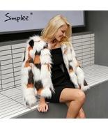 women Fluffy faux fur coat Warm long sleeve Coat Jacket Hairy Overcoat - £19.79 GBP+