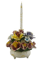 Authentic Italian Capodimonte Multicolor Gold Flower Bouquet Candle Holder - $86.73
