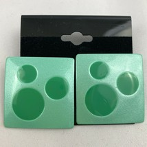 Vintage Funky Green Square Shaped Pierced Earrings NOS 80s 90s Statement - $12.58